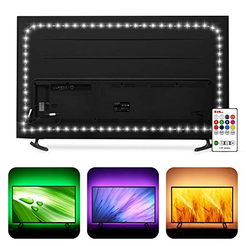 TV Bias Lighting 6500K True White for 70 72 75 80 82 85 Inch HDTV, Hamlite 18Ft USB TV LED Backlight with RF Remote Cover 4/4 Sides Behind TV Background Christmas Lights Ambient Mood Lighting