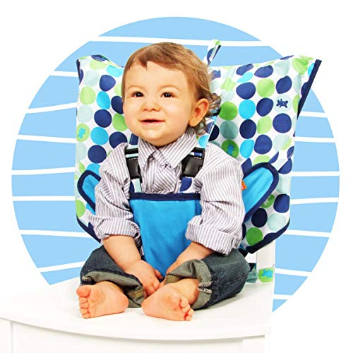 MY LITTLE SEAT Travel High Chair - Biggy Buttons - The Original Portable High Chair For Travel - Travel High Chairs For Babies And Toddlers - Baby Seats For Sitting Up - Travel High Chair