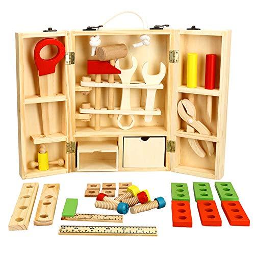 NINI Caja de Herramientas de Bricolaje de reparación portátil de Madera, carpintería de niños Desmontaje Caja Juguetes, Rompecabezas Simulación Asamblea Juguetes, niños y niñas