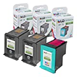 LD Remanufactured Ink Cartridge Replacements for HP 74 & HP 75 (2 Black, 1 Color, 3-Pack)