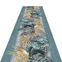 洗えるランナーラグ、3Dゴールデンフラワーパターン廊下エクストラロングカーペット滑り止め玄関ラグ玄関キッチン廊下階段用玄関マット,50x900cm