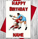 Carte d'anniversaire personnalisable avec nom et âge imprimés sur le devant du joueur de rugby