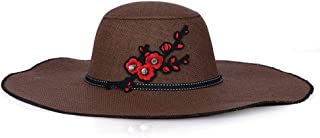 ZiWen Lu Big Along The Straw hat Ladies Summer Cool Travel Chinese Style Plum Visor Sun hat Sunscreen (Color : Brown)