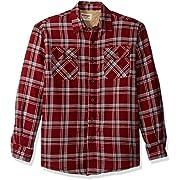Wrangler Authentics Men's Long Sleeve Sherpa Lined Shirt Jacket, pomegranate, Medium