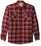 Wrangler mens Long Sleeve Sherpa Lined Jacket Button Down Shirt, Pomegranate, X-Large US