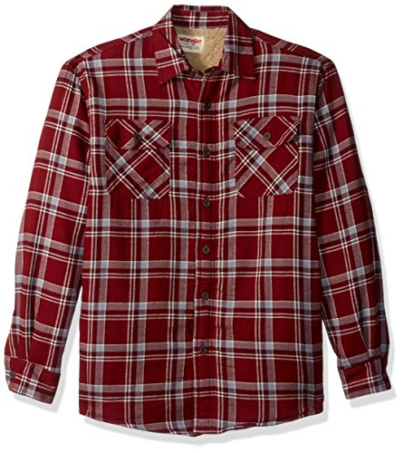 Wrangler mens Long Sleeve Sherpa Lined Jacket Button Down Shirt, Pomegranate, Large US