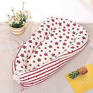 Baby Nest, Baby Lounger and Baby Pillow Bed Bassinet Newborn Snuggle Toddlers Bionic Bed Cribs Infants Sleep Bed Lounger Soft Breather Portable Cotton (Red)