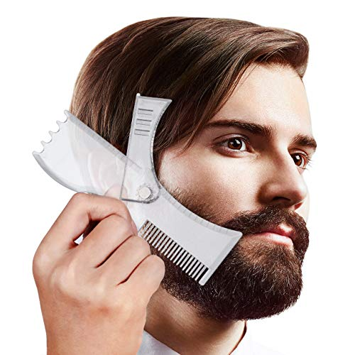 Housmile Adjustable Beard Shaping Tool Beard Styling Template for Men 360° Rotating Beard Shaper Works with Any Trimmer or Razor