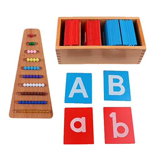 Gazechimp Juego de 2 Escaleras de Cuentas de Colores Y 26 Letras del Alfabeto, Ayudas de Entrenamiento para Niños de Juguete de Madera