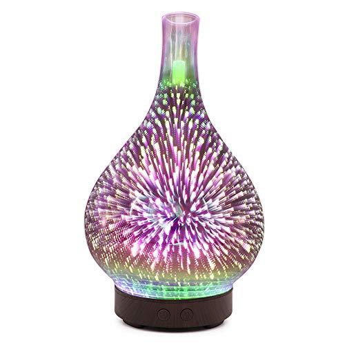 3D Vuurwerk Glazen Vaas Luchtbevochtiger met 7 Kleuren Led Nachtlampje Aroma Etherische Olie Diffuser Mist Ultrasoon-Bruin