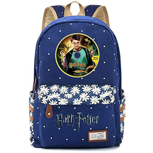 NYLY Chicas Mochila Floral Mujeres Moda de Compras de Viaje Mochila portátil Casual Daypacks, Bolsa para la Escuela Harry Potter Unisexo (Azul Oscuro) Estilo-9