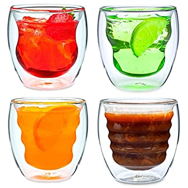 Curva Artisan Series Double Wall Beverage Glasses and Tumblers – Set of 4 Unique 8 oz Thermo Insulated Drinking Glasses