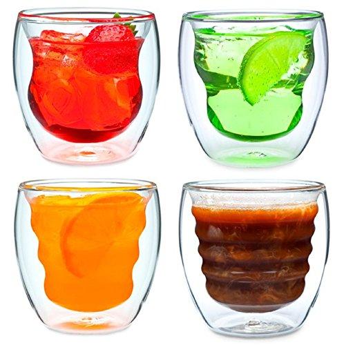 Ozeri - Set da 4 bicchieri a doppio fondo in materiale termoisolante da 235 ml, modello Curva Artisan