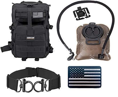 Seibertron 37L Backpack Black and 2L Water Bladder and Luggage Straps Black and Reflective US Flag