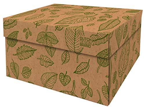 Cajas de almacenamiento decorativas con tapa – Tamaño: 38,9 x 31,8 x 21,1 cm – Cajas de almacenamiento con tapa – Cartón reciclable certificado FSC (Impresión: hojas naturales)