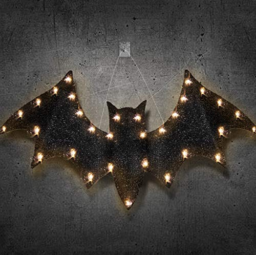 Ivenf Halloween Decorations, 24 inches 3D Glitter Scary Hanging Bat with Lights, Yard Porch Wall Party Decor Outdoor