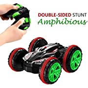SZJJX Stunt Car 2.4Ghz 4WD RC Car Boat 6CH Remote Control Amphibious Off Road Electric Race Double Sided Car Tank Vehicle 360 Degree Spins and Flips Land and Water
