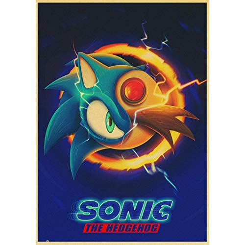 shuimanjinshan Movie Sonic the Hedgehog Retro Poster Prints Clear Image Room Bar Home Art Painting Wall Stickers 40x60cm No Frame HZ-1201