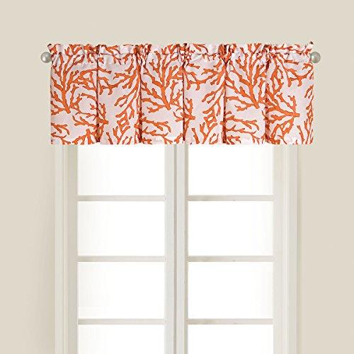 C&F Home Cora Red White Coastal Coral Tropical Beach Ocean Sea Life Bedroom Premium Window Cotton Printed Valance Set 2 Valance Set of 2 Orange