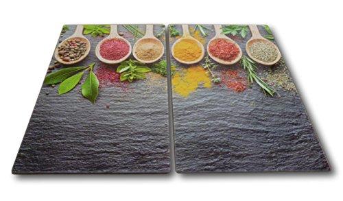 2 x Glas Herdabdeckplatte Herdabdeckung Schneidebrett Abdeckplatte Ceranfeld Design Gewürze Spices