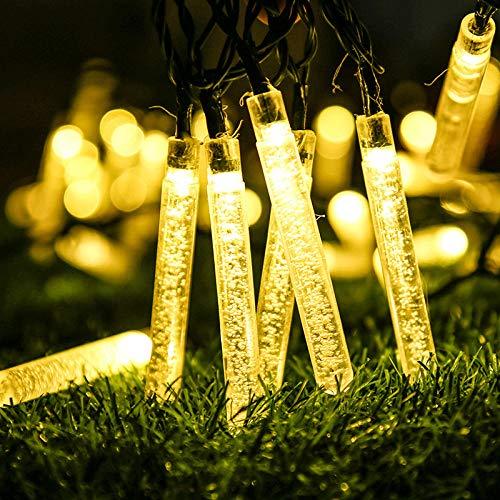 Luces solares de hadas al aire libre, 6,5 m, 30 luces solares de jardín con filamentos para exteriores, impermeables, para jardín, patio, puerta, patio, boda, fiesta (1 paquete blanco cálido)