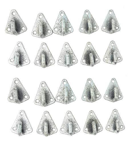 DWT-Germany - set da 20 ganci a tre fori per rimorchio, 100830, zincati, 50 x 40 mm, per teloni, ancoraggio, reti per rimorchio, fissaggio del carico