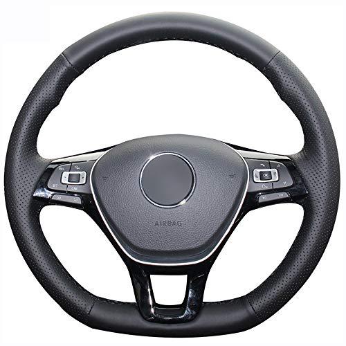 FANGPAN Lenkradabdeckung,Für Volkswagen Golf 7 Mk7 Neuer Polo Passat B8 Tiguan Touran, Schwarze Lenkradabdeckung aus Kunstleder