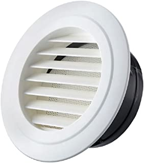 ABS Soffit Vents, H&L Tech Round Wall Cover Ceiling ABS Louver Grille Cover Exhaust Extractor Air Vents with Fly Screen Mesh for Kitchen and Bathroom (4inch)