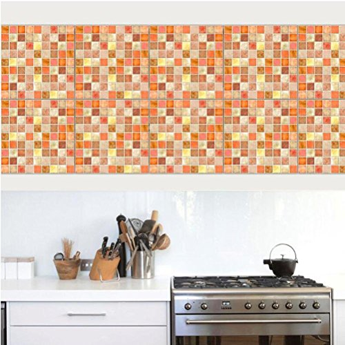 MINRAN DECOR BJ Art de tuiles Mural - Adhésif carrelage   Sticker Autocollant Carrelage - Mosaïque carrelage Mural Salle de Bain et Cuisine   - 20x20 cm - 10 pièces TS006, Orange