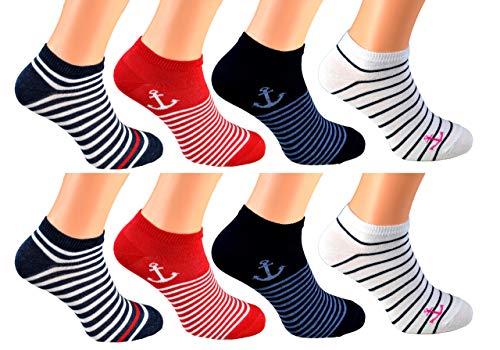 cocain 8 Paar Sneaker Socken Grösse 35-38, Maritim Marke Füsslinge Söckchen für Damen maritim Sommer söckchen Matrosen Streifen Anker Punkte