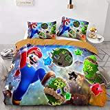 Mario - Juego de ropa de cama Mario, funda de edredón infantil, 3 piezas, funda de edredón de dibujos animados, impresión 3D (A5, 135 x 200 cm + 80 x 80 cm x 2)