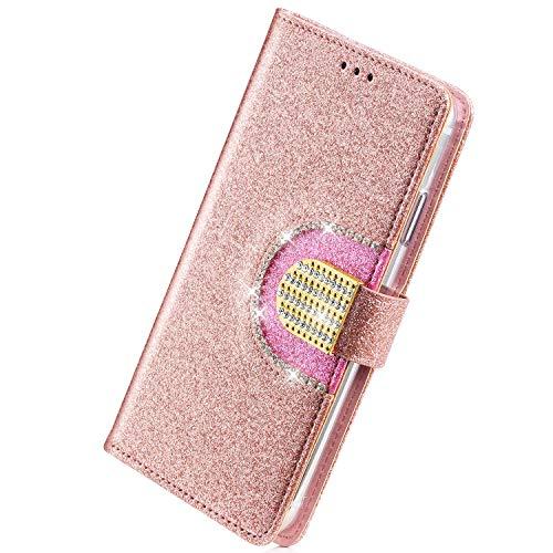 Herbests Kompatibel mit Samsung Galaxy S5 Handyhülle Bling Glitzer Strass Diamant Handytasche Tasche Lederhülle Wallet Hülle Schutzhülle Flip Case Kartenfächer Magnetverschluss,Rose Gold
