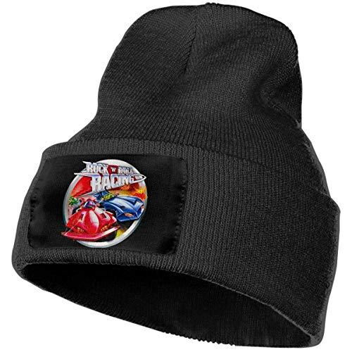 Cappelli da uomo e da donna Rock 'N' Roll Racing Skull Beanie Berretti invernali Berretti lavorati a maglia Cappello da sci caldo e morbido Nero