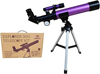 Qurious Space Kid's Explorer Telescope Gift Kit w Eco Carry Case 1650 | Children & Astronomy Beginners | Moon Travel Scope | Tabletop Tripod | Compass | Glow-in-The-Dark Stickers | Science Ed