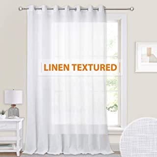 100 inches Wide Sheer Curtain - Linen Wave Texture Semi Sheer White Backdrop Curtains Grommet for Bedroom Wedding Dining Living Room Sliding Glass Door, 100 inch Wide x 84 inche Long, 1 Panel