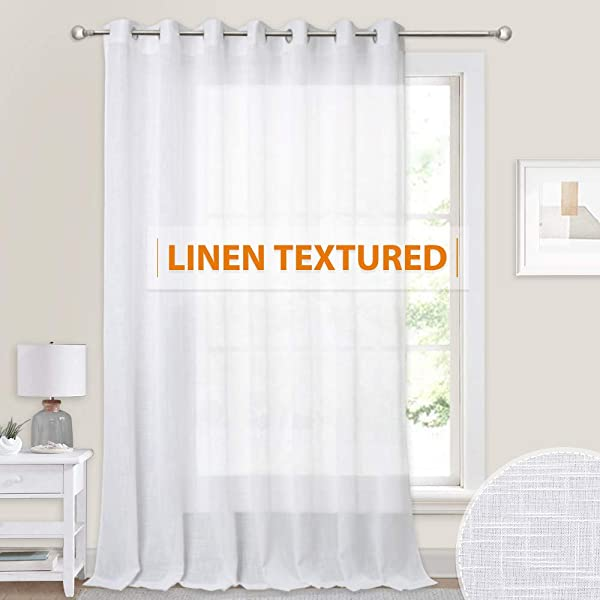 100 Inches Wide Sheer Curtain Casual Linen Wave Texture Hazy Drapes White Sheer Backdrop Curtains For Bedroom Wedding Dining Living Room Sliding Glass Door 100 Inch Wide X 84 Inche Long 1 Panel