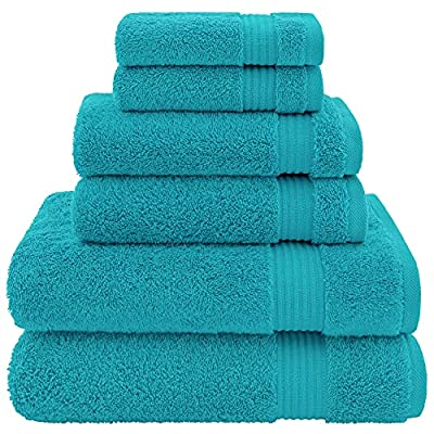 Hotel & Spa Quality, Absorbent and Soft Decorative Kitchen and Bathroom Sets, Cotton, 6 Piece Turkish Towel Set, Includes 2 Bath Towels, 2 Hand Towels, 2 Washcloths, Ocean Aqua