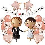 MiaLover Juego de decoración de boda de color oro rosa, globos para novios, novia, novio, estrella, corazón, boda, globos decorativos, pancartas para compromiso, boda, pedida de matrimonio, oficina