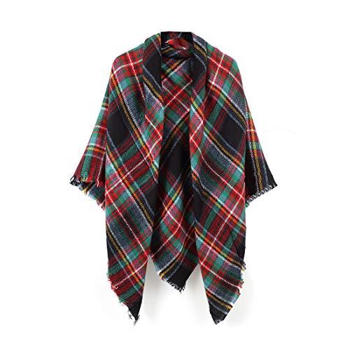 Women's Plaid Blanket Scarf Wrap Stripe Shawl Checked Scarves Tartan Pashmina Cape