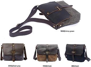 Men Canvas Waterproof Laptop Bag Briefcase Business Satchel Shoulder Bag 22x28cm (Green)