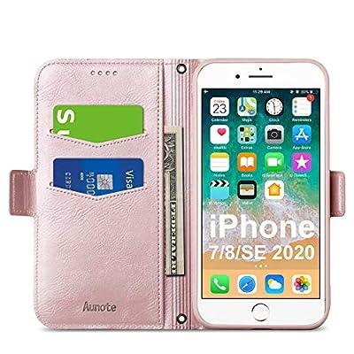 Aunote iPhone 7/8/SE Wallet Case, iPhone 7 Flip...