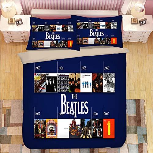 NICHIYOUBI The Beatles - Juego de Cama de 3 Piezas con Funda de edredón en 3D (Funda de edredón y 2 Fundas de Almohada), Grueso y Suave, 13, King 220x240cm