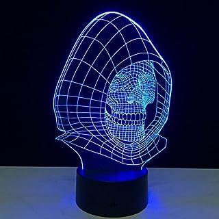 Queenshiny® LED 3D Ilusión lámpara luz escritorio micro USB lámpara noche 7 cambio de color (Muerte)
