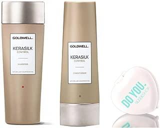 Goldwell Kerasilk Control Shampoo & Conditioner DUO Set (with Sleek Compact Mirror) (8.4 oz & 6.7 oz Kit)