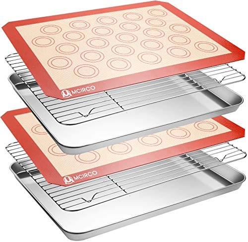 Stainless Steel Baking Sheet Tray Cooling Rack with Silicone Baking Mat Set, Cookie Pan with Cooling Rack, Set of 6 (2 Sheets + 2 Racks + 2 Mats), Non Toxic, Heavy Duty & Easy Clean