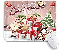 VAMIX マウスパッド 個性的 おしゃれ 柔軟 かわいい ゴム製裏面 ゲーミングマウスパッド PC ノートパソコン オフィス用 デスクマット 滑り止め 耐久性が良い おもしろいパターン (サンタクロース雪だるまエルフ天使とビンテージのクリスマスポスターデザイン)