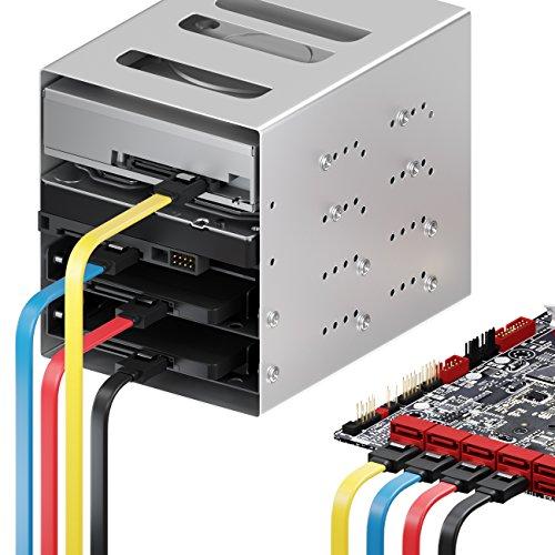 deleyCON 4X 50cm SATA III Kabel S-ATA 3 Datenkabel 6 GBit/s Verbindungskabel Anschlusskabel für HDD SSD - Metall-Clip - 2 Gerade L-Type Stecker - Gelb/Rot/Blau/Schwarz