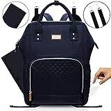 Wickelrucksack für Babys, MIMINOBABY, schwarze Wickeltasche mit isolierter Tasche