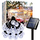LiyuanQ Solar Outdoor String Lights Crystal Globe Light String 30 LED 23.6 Feet Solar Powered Patio Lights with 8 Lighting Modes Waterproof Lights for Deck Backyard Garden Porch Wedding Party Decor
