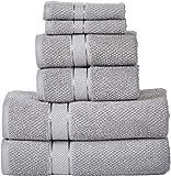 SENSES Cotton 2 Bath Towel, 2 Hand Towel, 2 Wash Towel 550 GSM (Set of 6, Silver Grey)